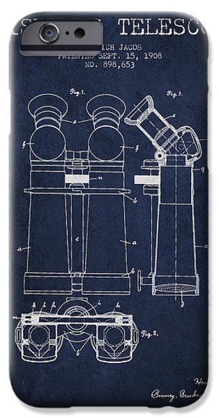 Telescope iPhone Cases - Prismatic Telescope Patent from 1908 - Navy Blue iPhone Case by Aged Pixel