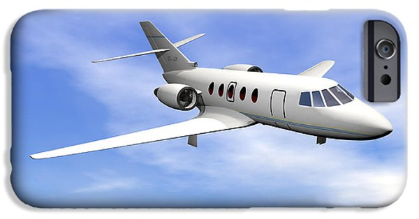 Business Digital Art iPhone Cases - Private Jet Plane Flying In Cloudy Blue iPhone Case by Elena Duvernay