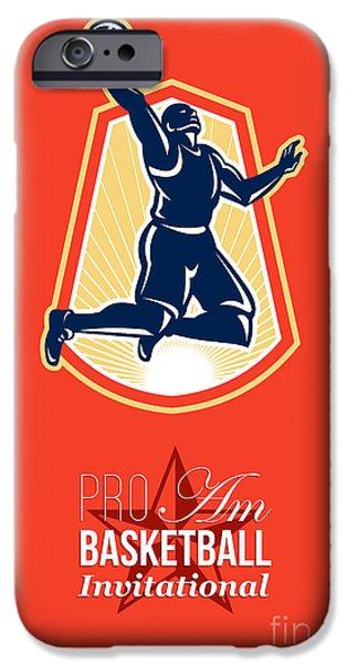 American Basketball Player iPhone Cases - Pro Am Basketball Invitational Retro Poster iPhone Case by Aloysius Patrimonio