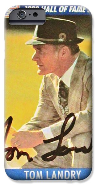 Recently Sold -  - Autographed iPhone Cases - Pro Football Coach Tom Landry iPhone Case by Donna Wilson