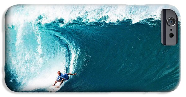 Surfer iPhone Cases - Pro Surfer Kelly Slater Surfing in the Pipeline Masters Contest iPhone Case by Paul Topp