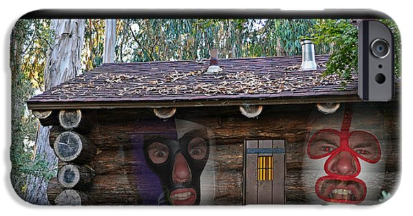 Cabin Window Digital iPhone Cases - Pro Wrestling Horror Movie Cabin in the Woods iPhone Case by Jim Fitzpatrick