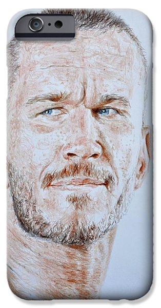 Wwf iPhone Cases - Pro Wrestling Legend Randy Orton iPhone Case by Jim Fitzpatrick