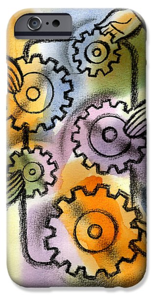 Linked Paintings iPhone Cases - Problem Solving iPhone Case by Leon Zernitsky