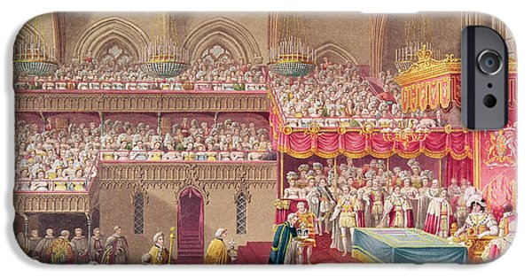 Ceremony iPhone Cases - Procession Of The Dean And Prebendaries Of Westminster Bearing The Regalia, From An Album iPhone Case by Charles Wild