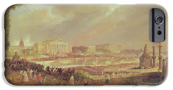 Crowd iPhone Cases - Proclamation Of The Second French Republic, Place De La Concorde, February 24, 1848 Oil On Canvas iPhone Case by Jean-Jacques Champin
