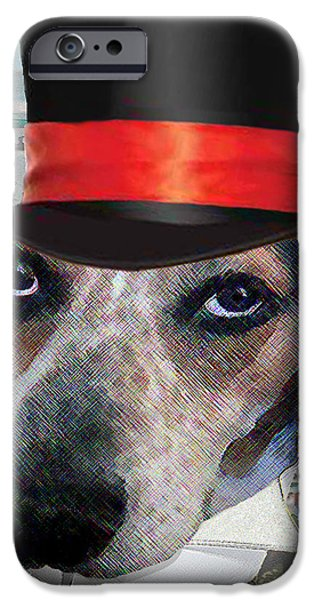 Dog Race Track iPhone Cases - Professor Poses At The Derby iPhone Case by Michele  Avanti