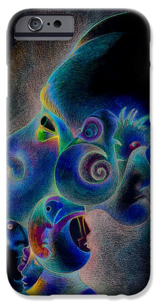 Colored Pencil Abstract Drawings iPhone Cases - Profile iPhone Case by Bodhi
