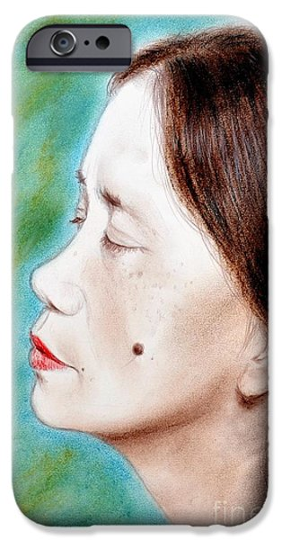 Beauty Mark Mixed Media iPhone Cases - Profile of a Filipina Beauty with a mole on Her Cheek  iPhone Case by Jim Fitzpatrick