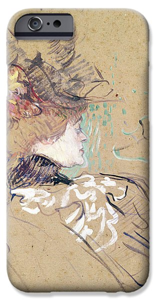 Profile iPhone Cases - Profile of a woman iPhone Case by Henri de Toulouse-Lautrec