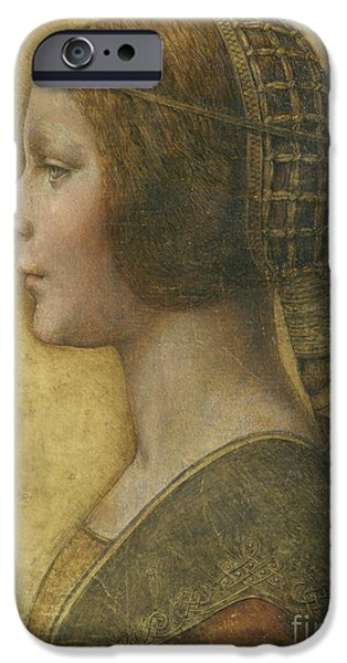 Hairstyle iPhone Cases - Profile of a Young Fiancee iPhone Case by Leonardo Da Vinci