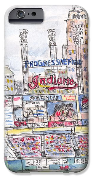 Baseball Stadiums Paintings iPhone Cases - Progessive Field iPhone Case by Matt Gaudian