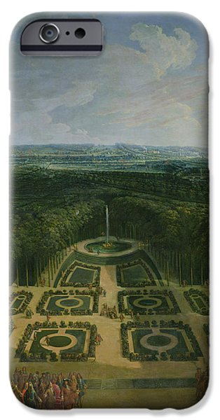 Garden Scene Photographs iPhone Cases - Promenade Of Louis Xiv 1638-1715 In The Gardens Of The Grand Trianon, 1713 Oil On Canvas iPhone Case by Charles Chastelain