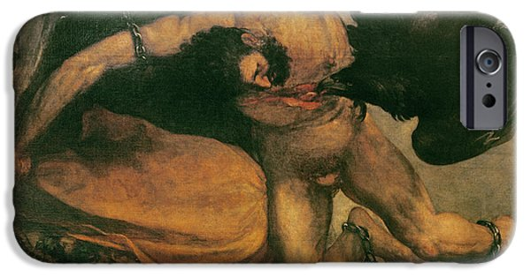 Zeus iPhone Cases - Prometheus Oil On Canvas iPhone Case by Francisco Jose de Goya y Lucientes