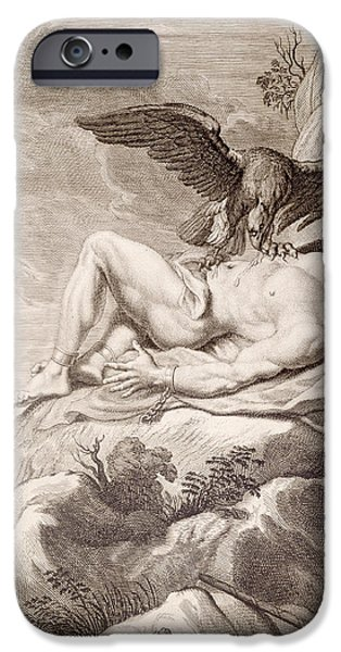 Punishment iPhone Cases - Prometheus Tortured by A vulture iPhone Case by Bernard Picart