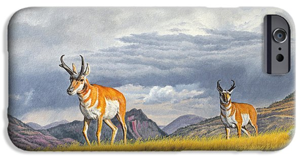 Slide iPhone Cases - Pronghorn-Coming over the Rise iPhone Case by Paul Krapf