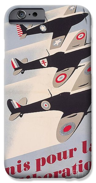 Aeronautics iPhone Cases - Propaganda poster for liberation from World War II iPhone Case by Anonymous