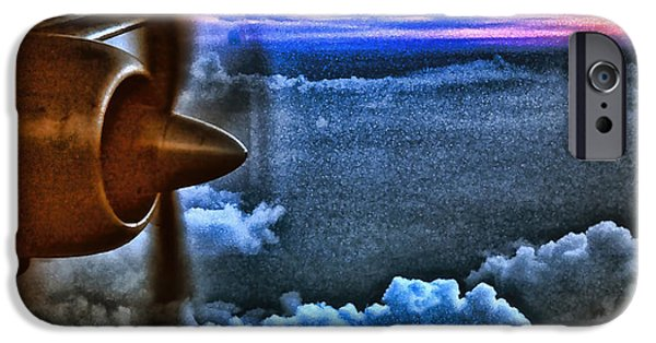 Passenger Plane Mixed Media iPhone Cases - Propeller Sunrise HDR iPhone Case by Bellesouth Studio