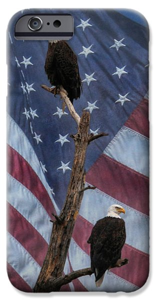 Memorial Day Digital Art iPhone Cases - Protect and Defend iPhone Case by Lori Deiter