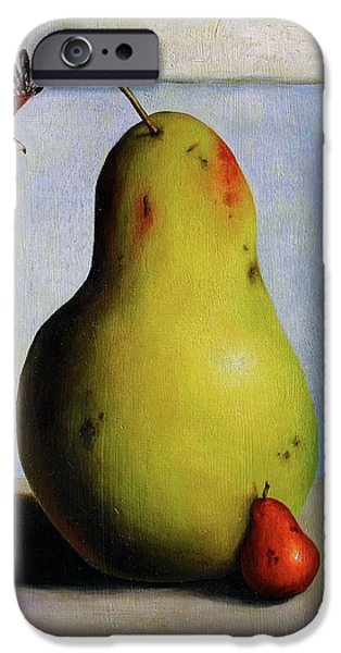 Pears iPhone Cases - Protecting Baby 5 iPhone Case by Leah Saulnier The Painting Maniac
