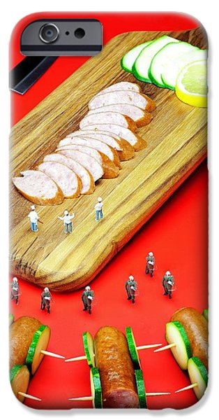 Police iPhone Cases - Protesting kill the sausages little people on food iPhone Case by Paul Ge