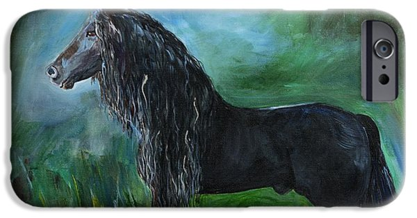 Horse iPhone Cases - Proud Friesian iPhone Case by Leslie Allen