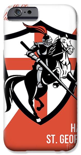 Proud to Be English Happy St George Day Retro Poster iPhone Case by Aloysius Patrimonio