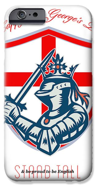 Proud to Be English Happy St George Day Shield Card iPhone Case by Aloysius Patrimonio