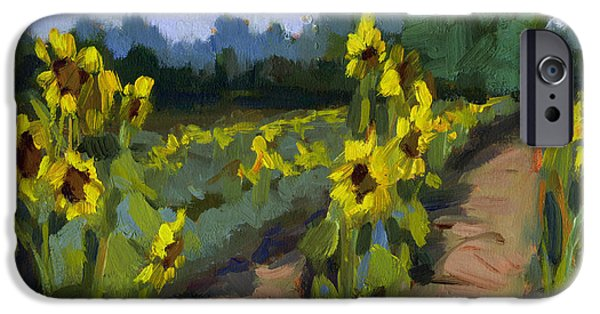 Sunflower Fields iPhone Cases - Provence Sunflower Field iPhone Case by Diane McClary
