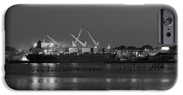 Dave iPhone Cases - Providence Harbor I BW iPhone Case by David Gordon