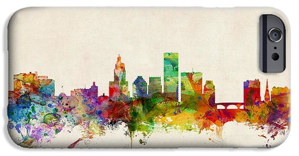 States iPhone Cases - Providence Rhode Island Skyline iPhone Case by Michael Tompsett