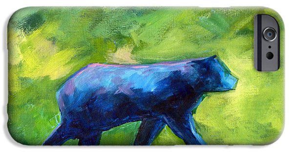 Business Paintings iPhone Cases - Prowling iPhone Case by Nancy Merkle