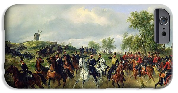 Horse iPhone Cases - Prussian Cavalry On Expedition, C.19th Oil On Canvas iPhone Case by Carl Schulz