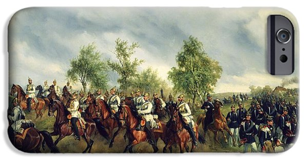 Horse iPhone Cases - Prussian Cavalry On Expedition Oil On Canvas iPhone Case by Carl Schulz