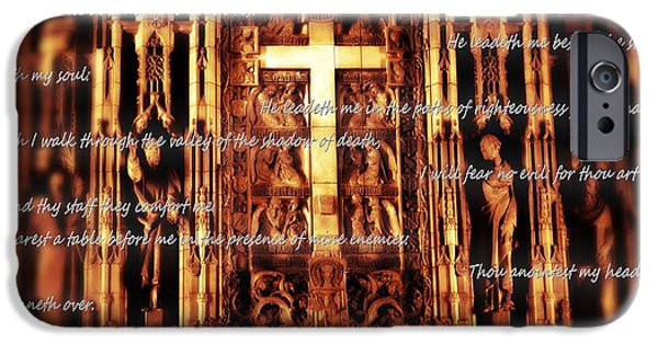 The Church Mixed Media iPhone Cases - Psalm 23 Church Interior iPhone Case by Dan Sproul