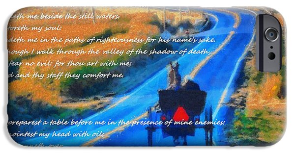 The Church Mixed Media iPhone Cases - Psalm 23 Country Roads iPhone Case by Dan Sproul
