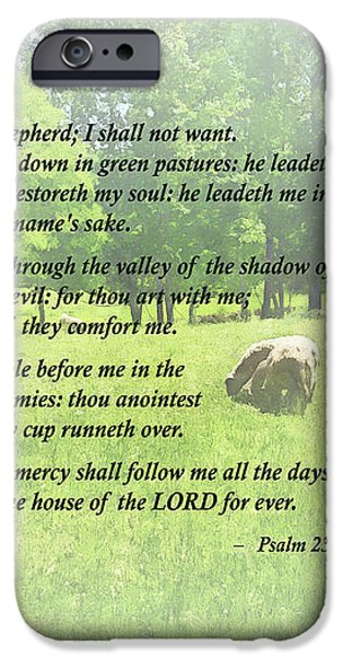 Psalm 23 The Lord Is My Shepherd iPhone Case by Susan Savad