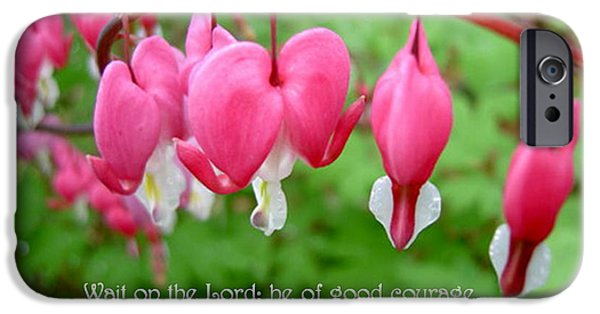 Psalms 27:14 iPhone Cases - Psalms 27 14 Bleeding Hearts iPhone Case by Sara  Raber