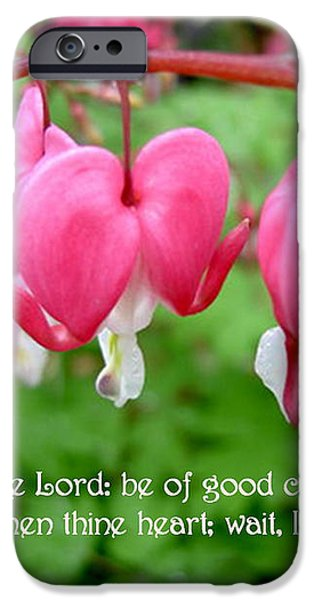 Psalms 27 14 Bleeding Hearts iPhone Case by Sara  Raber