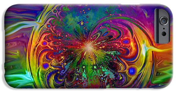Energy Art Movement iPhone Cases - Psychedelic Beams Of Light iPhone Case by Linda Sannuti