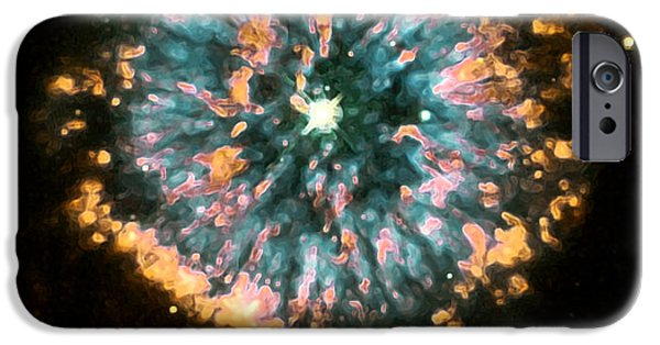 Nebula Images iPhone Cases - Psychedelic Dandelion  iPhone Case by The  Vault - Jennifer Rondinelli Reilly
