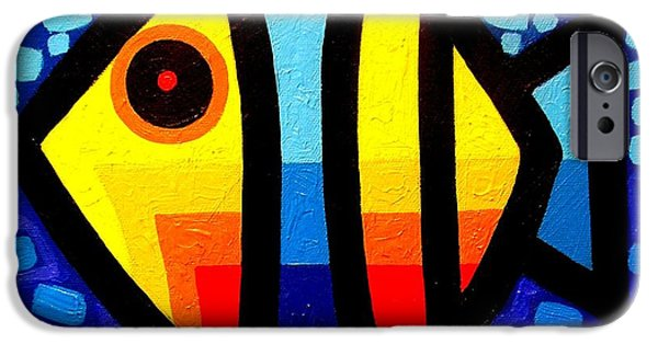 Blue Yellow Abstract Art iPhone Cases - Psychedelic Fish iPhone Case by John  Nolan