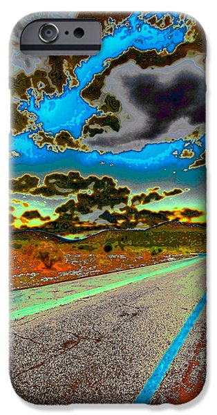Surreal Landscape iPhone Cases - Psychedelic Highway iPhone Case by David Patterson