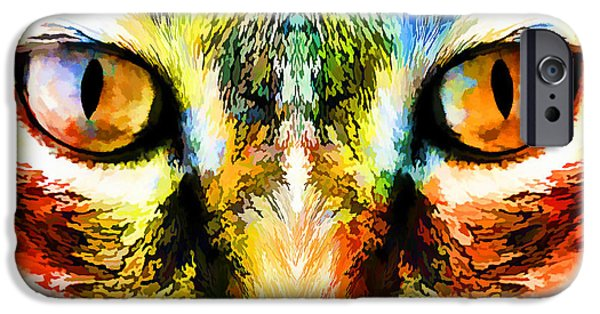 Artography iPhone Cases - Psychedelic Kitty Cat iPhone Case by Melissa Bittinger