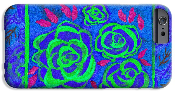 Multimedia iPhone Cases - Psychedelic Roses - Summer iPhone Case by Beverly Claire Kaiya