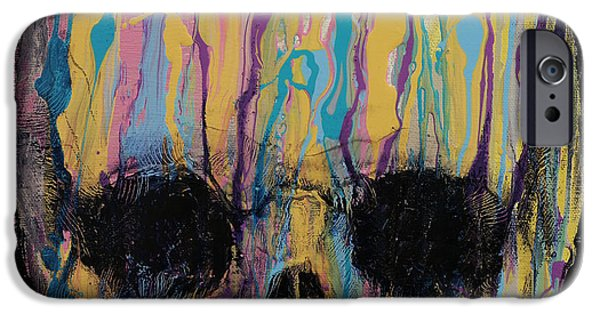 Drips Paintings iPhone Cases - Psychedelic Skull iPhone Case by Michael Creese