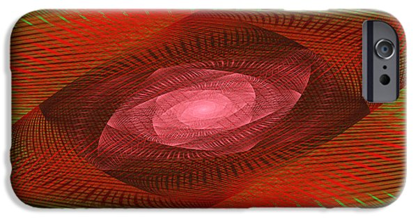 Modern Art Jewelry iPhone Cases - Psychedelic Spiral Vortex Green And Red Fractal Flame iPhone Case by Keith Webber Jr