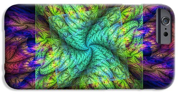 Green Geometry Art iPhone Cases - Psychedelic Spiral Vortex Green Blue And Pink Fractal Flame iPhone Case by Keith Webber Jr