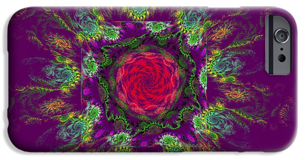 Vortex iPhone Cases - Psychedelic Spiral Vortex Purple Green And Pink Fractal Flame iPhone Case by Keith Webber Jr