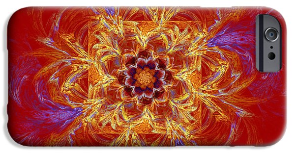 Modern Art Jewelry iPhone Cases - Psychedelic Spiral Vortex Red Orange And Blue Fractal Flame iPhone Case by Keith Webber Jr
